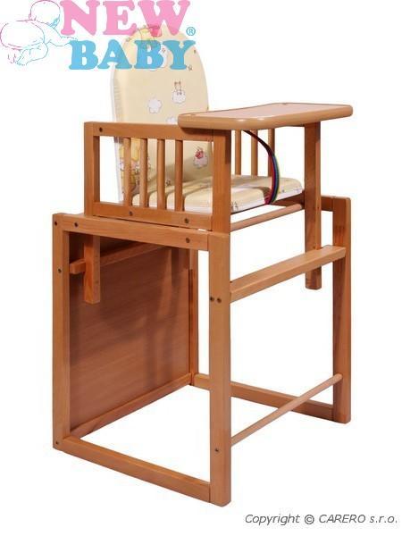 Židlička ke krmení dřevěná Victory buk Vícefunkční sestava židličky a stolečku, rozkládací