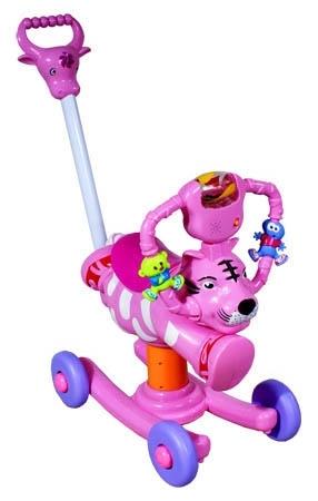 Houpačka na kolečkách Tygřík pink Houpadlo na kolečkách s vodící tyčí