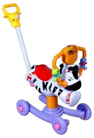 Houpačka na kolečkách Zebra Houpadlo na kolečkách s vodící tyčí