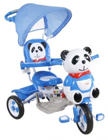 Tříkolka ARTI JY-23 Panda 2 modrá Dětská tříkolka s vodící tyčí a stříškou