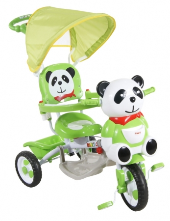 Tříkolka ARTI JY-23 Panda 2 zelená Dětská tříkolka s vodící tyčí a stříškou