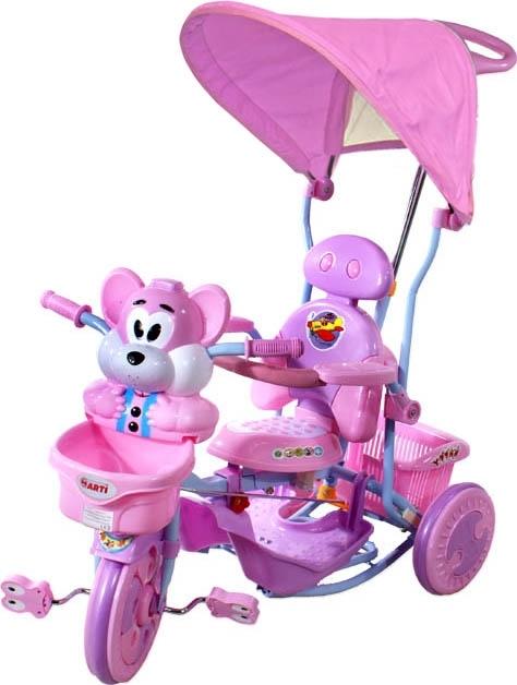 ARTI T-30 tříkolka Veverka růžová Dětská tříkolka s vodící tyčí a stříškou