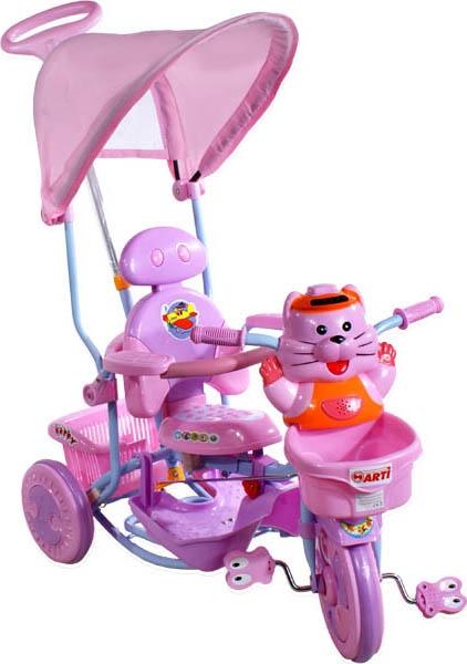tříkolka ARTI 2880 tygřík růžová Dětská tříkolka s vodící tyčí a stříškou
