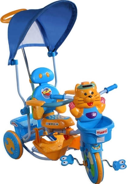 tříkolka ARTI 2880 tygřík modrá Dětská tříkolka s vodící tyčí a stříškou