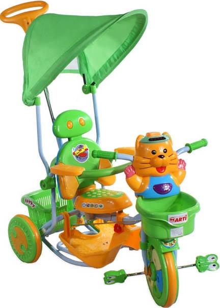 tříkolka ARTI 2880 tygřík zelená Dětská tříkolka s vodící tyčí a stříškou