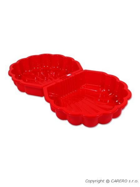 Pískoviště plastové mušle červené Uzavíratelné dvojité plastové pískoviště nebo bazének