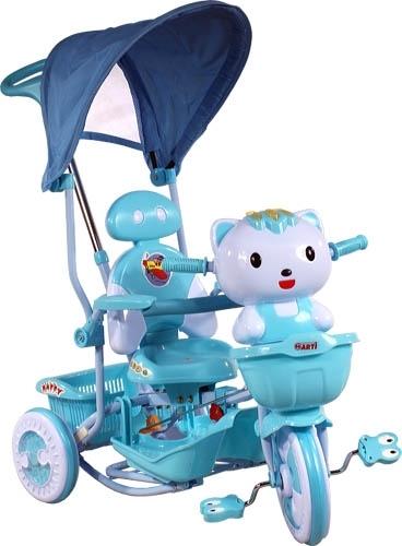 ARTI tříkolka s vodící tyčí Kočička blue Dětská tříkolka s vodící tyčí a stříškou