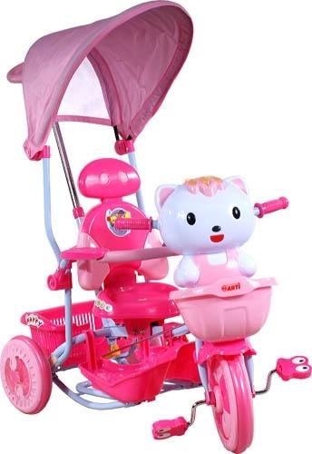 ARTI tříkolka s vodící tyčí Kočička New pink Dětská tříkolka s vodící tyčí a stříškou