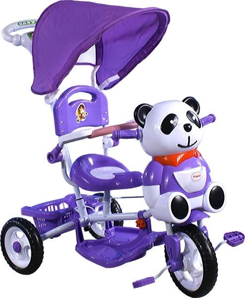 Tříkolka ARTI Panda 1 - violet Dětská tříkolka s vodící tyčí a stříškou
