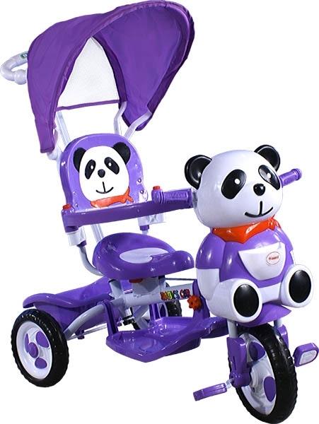 Tříkolka ARTI JY-23 Panda 2 violet Dětská tříkolka s vodící tyčí a stříškou