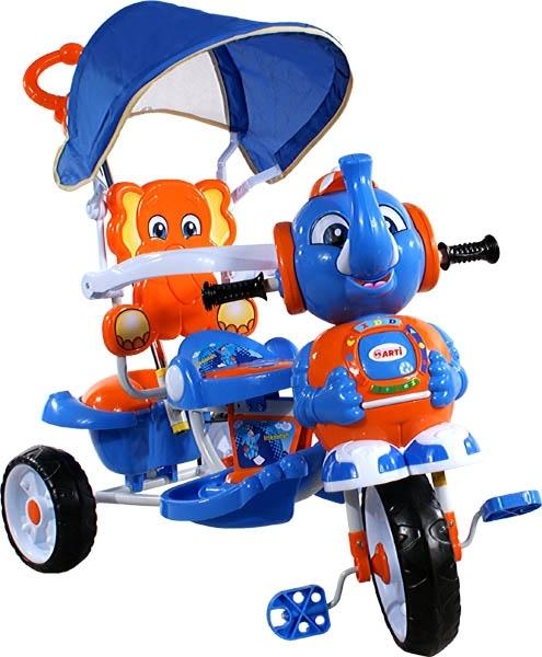 Tříkolka ARTI Sloník A-12 modrá Dětská tříkolka s vodící tyčí a stříškou