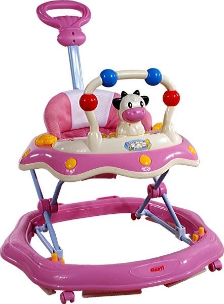 Chodítko s vodící tyčí ARTI Kravička pink Dětské chodítko s hracím pultíkem