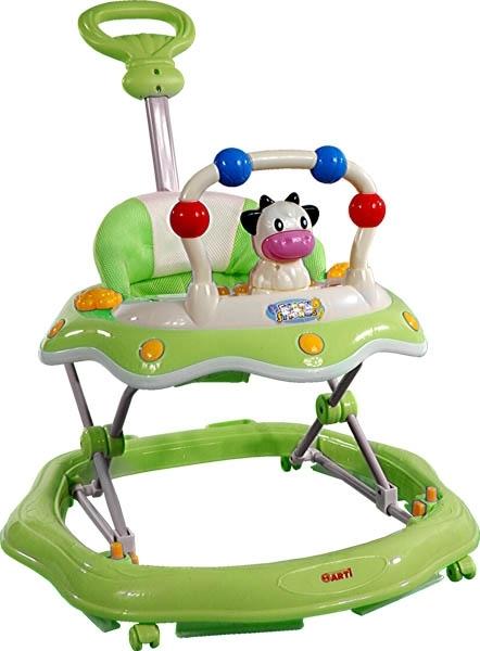 Chodítko s vodící tyčí ARTI Kravička green Dětské chodítko s hracím pultíkem