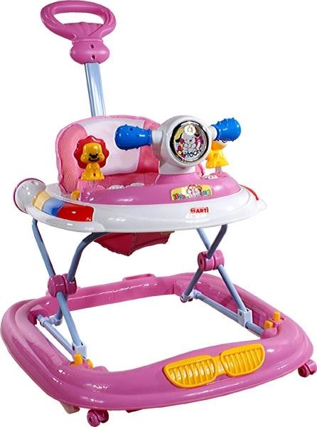 Chodítko s vodící tyčí ARTI UFO pink Dětské chodítko s hracím pultíkem