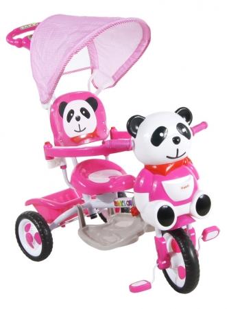 Tříkolka ARTI JY-23 Panda 2 růžová Dětská tříkolka s vodící tyčí a stříškou
