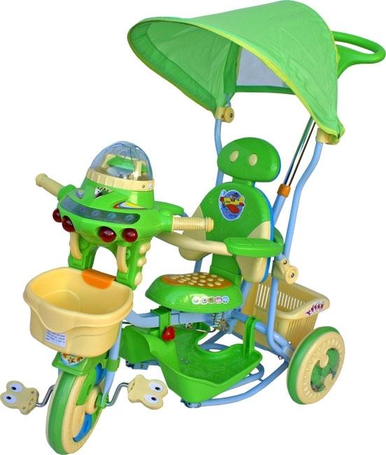 Tříkolka ARTI UFO T-27 zelená Dětská tříkolka s vodící tyčí a stříškou