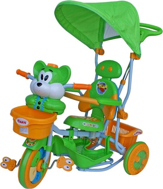 ARTI T-30 tříkolka Veverka zelená Dětská tříkolka s vodící tyčí a stříškou